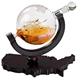 Whiskey Decanter on USA Map Tray - Etched Globe Liquor Decanter - Beverage Serveware - 850 ML