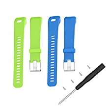 Bands for Garmin Vivosmart HR+, Garmin vívosmart HR+ Replacement Soft Silicone Bracelet Sport Strap WristBand Accessory with Pins and Adapter Tools by TenYun (Blue&Lime)