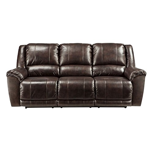 Ashley Furniture Signature Design - Yancy Reclining Sofa - Power Recliner - Contemporary Style - Walnut