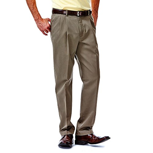 Haggar Mens Work To Weekend Pleated Front Khaki, Bark, (Pleated No Iron)