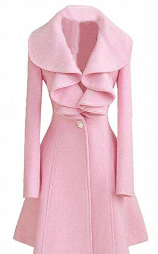 Ruffle Peacoat (Hokny TD Women's Casual Wool Blended Solid Fashion Ruffle Collar Pea Coats Pink M)