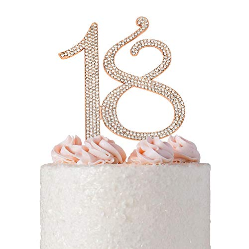 (18 ROSE GOLD Cake Topper | Premium Sparkly Crystal Diamond Bling Rhinestone Gems | 18th Birthday Party Decoration Ideas | Quality Metal Alloy | Perfect Keepsake (18 Rose Gold))