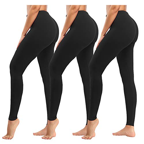 - ZOOSIXX High Waisted Leggings for Women - Tummy Control Soft Leggings Opaque Slim (Black,3 Pack, Plus Size (US 12-24))