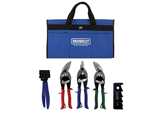 (MIDWEST HVAC Tool Kit - 5 Piece Set Includes Aviation Snips with Metalworking Tools & Bag - MWT-HVACKIT01)