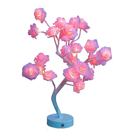 Table Lamp Rose Flower Desk Tree Lamp Gift For Girls Women Teens Home Décor For Wedding Christmas Living Room Bedroom Party with 24 Warm White LED Lights |Two Modes: USB/Battery Powered(White) (Lamp Table Flower)