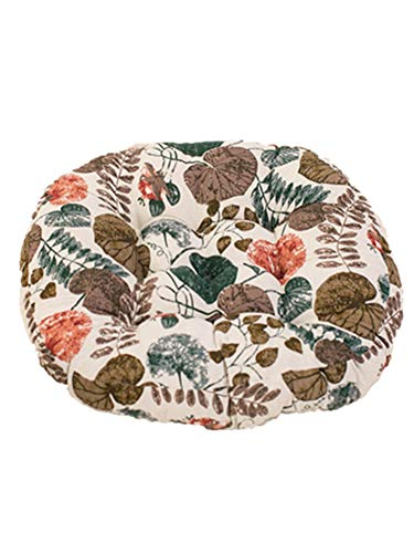 WXH6688 Solid Futon Seat Cushion, Cotton Linen Round Thicken Pillow Floor Chair Pad for a Reading Nook, Bed Room, or Watching TV. (White Maple Leaf)