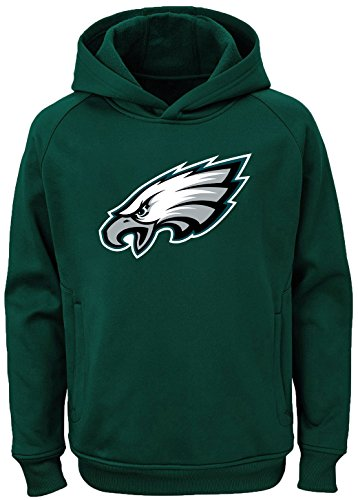Outerstuff NFL Youth Team Color Performance Primary Logo Pullover Sweatshirt Hoodie (Medium 10/12, Philadelphia Eagles)