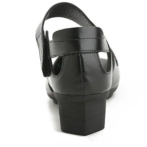 L@YC® Sandalias Planas De Mujeres Pieles De Boca De Pieles áSperas Con La Plataforma De Bomba De SatéN Bola De Boda Zapatos Black