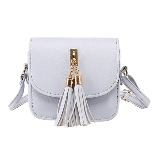 Minetom Women Fashion Handbags Cross Body Bag Women Candy Color Tassel Messenger Bags Small Chains Bag Female Handbag Shoulder Bag B Gray