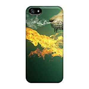 Defender Cases For Iphone 5/5s, 3d Cat In Fire Pattern