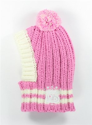 (Large, Pink) Hip Doggie HD Crown Knit Hat for Dogs