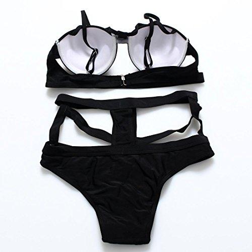 WANGXN bikini mujer de color sólido de la cintura hueco copa semiesférica traje de baño atractivo Black