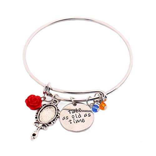(Beauty and The Beast Message Expandable Silver Bangle Bracelet Tale As Old As Time Hand Stamped Belle Jewelry Rose Mirror Charms Crystal Bangles)
