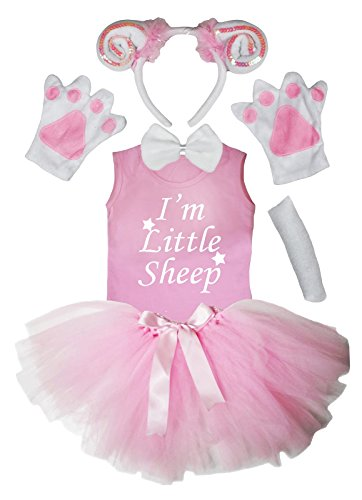 Petitebella Sheep Headband Paw Bow Tail Shirt Gauze Skirt 6pc Set (3-4 Years) (Sheep Costume For Kids)