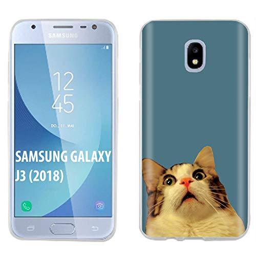 [Mobiflare] Samsung Galaxy J3 2018/Amp Prime 3/Express Prime 3/Achieve/Star/J338 Ultraflex Thin Gel Phone Cover [Surprise Cat Print]