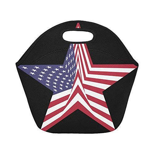 Insulated Neoprene Lunch Bag Free Clipart Of A Star With An American Flag P Large Size Reusable Thermal Thick Lunch Tote Bags For Lunch Boxes For Outdoors,work, Office, School ()