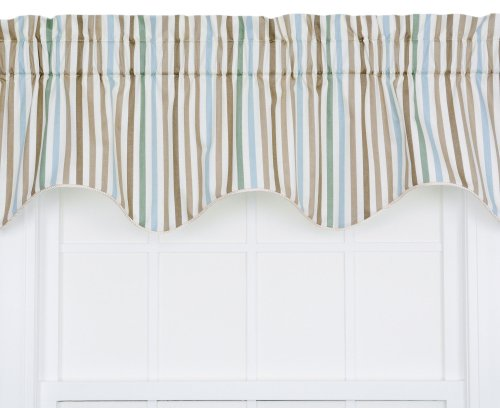 Ellis Curtain Line-Up Stripe Print Lined Duchess Filler Valance, 50 by 15-Inch, Latte