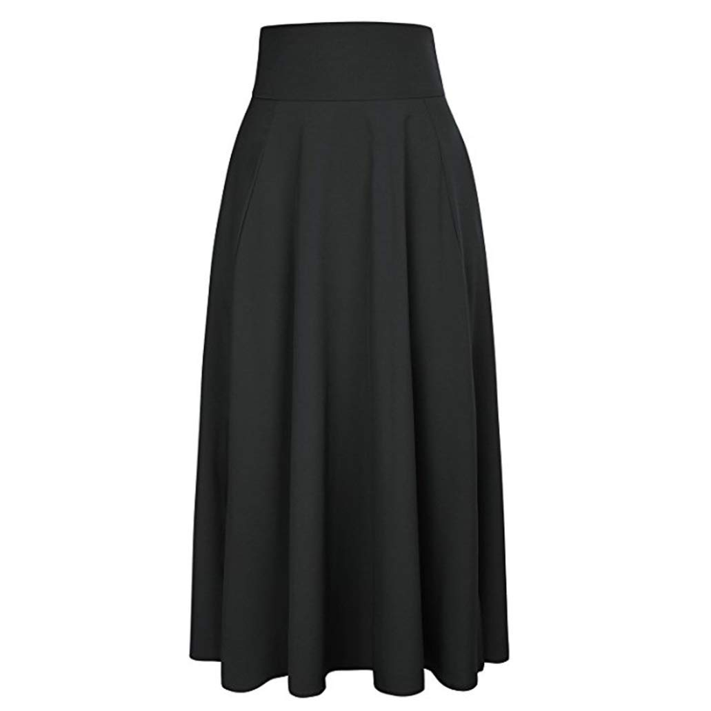 Women Maxi Skirt-High Waist Pleated A-Line Long Skirt Front Slit Belted Skirt (S-XXL) by Jinjin (Image #4)