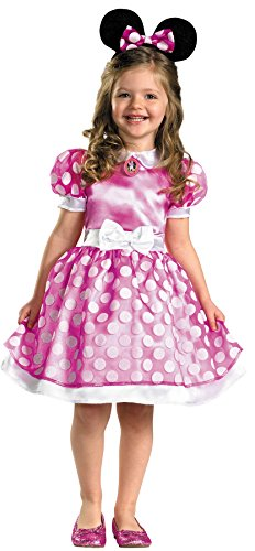 Girl's Minnie Mouse Outfit Funny Theme Fancy Dress Child Halloween Costume, Toddler M (3T-4T) Pink -