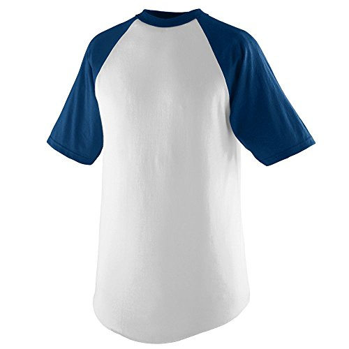 Mens Short Sleeve Practice Tee - Augusta Sportswear Short Sleeve Baseball Jersey, X-Large, White/Navy