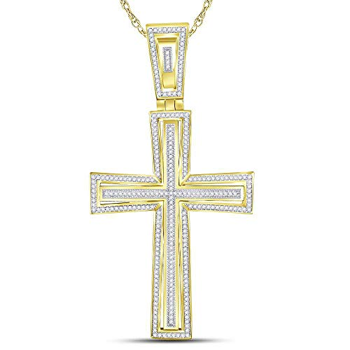 Jawa Jewelers 10kt Yellow Gold Mens Round Diamond Crucifix Cross Charm Pendant 3/4 Cttw