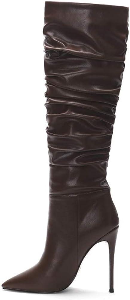 YQSHOES Bottes Pour Femmes En Peluche Hiver À Talons Hauts Chaussures Femmes Mode Bottes Plissées Bottes En Cuir Brown