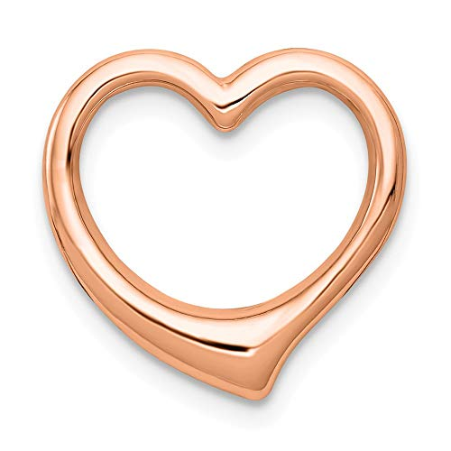 - 14K Rose Polished Heart Chain Slide