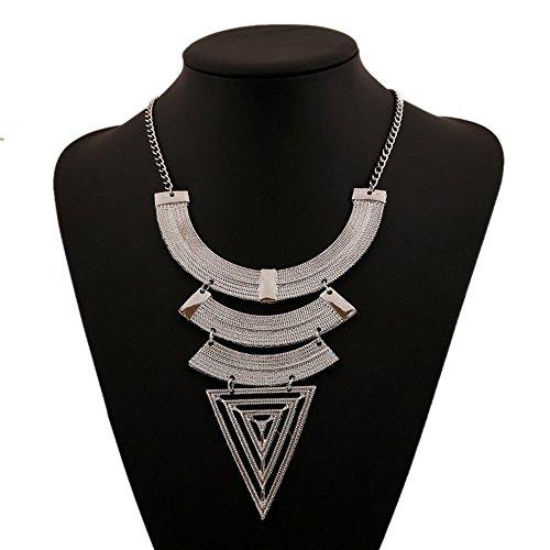 Winter.Z European Geometric triangle jewelry accessories hollow retro fashion sweater chain necklace
