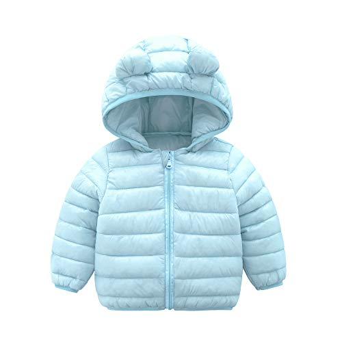 CECORC Winter Coats for Little Kids with Hoods (Padded) Light Puffer Jacket for Outdoor Warmth, Travel, Snow Play | Little Girls, Little Boys | Baby, Infants, Toddlers, 3T, Lightblue ()