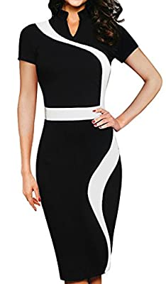 HOMEYEE Women's Vintage Short Sleeve Wear to Work Party Bodycon Dress B320
