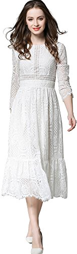 Ababalaya Women's Elegant Round Neck Floral Lace 3/4 Sleeve A-Line Midi Dress,White,L (Lace White Elegant Dress With Floral Details)