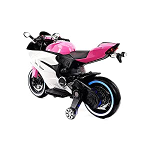 Moderno Kids Motorcycle for Children Ride On Powered Wheels W/ 12 Volt of Power, Leather Seat, Mp3, LED Lights (Pink)