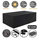 Tvird Patio Furniture Covers,Outdoor Furniture Covers Waterproof, 420D Heavy Duty Oxford Fabric,Table and Chair Patio Set Covers Windproof 95.27 x 63.77 x 39.37 in(Black)