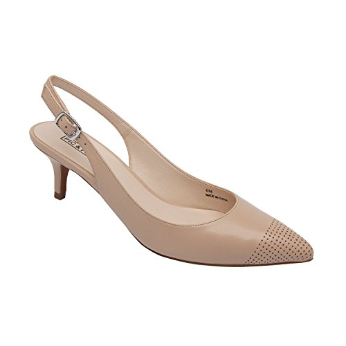 PIC/PAY Hazel | Women's Low Heel Perforated Cap Toe Comfortable Slingback Pump Nude Leather 7M