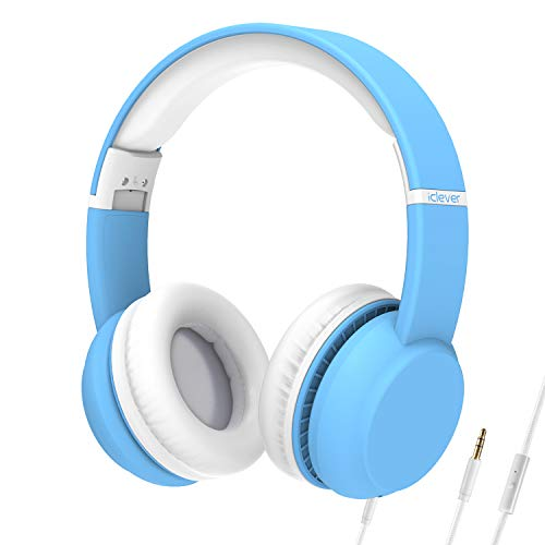 iClever HS15 Kids Headphones - Wired Headphones Kids Stereo Sound Adjustable Metal Headband Microphone Foldable Tangle-Free Wires 94dB Volume Limiting - Childrens Headphones Over Ear, Blue