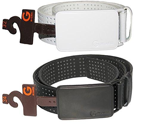 GUESS White or Black Belt Belt, Plaque Belt Buckle w/ Engraved Logo 35468 (32, Black)