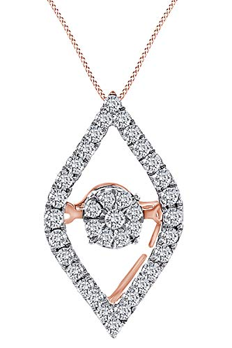 0.23 Carat (Cttw) Round Shape White Natural Diamond Marquise Shape Pendant Necklace 10K Solid Rose Gold