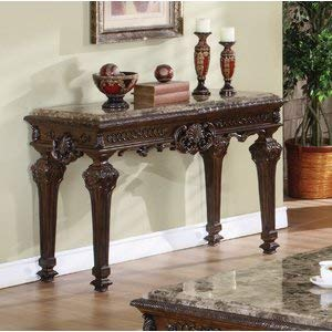 Wood Console Table with Granite Marble Top - Hand Carved Rectangular Console Table - ()