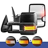 MOSTPLUS New Power Heated Towing Mirrors for Chevy Silverado Suburban Tahoe GMC Serria Yukon 1999-2002 w/Sequential Turn light, Clearance Lamp, Running Light(Set of 2)