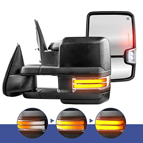 (MOSTPLUS New Power Heated Towing Mirrors for Chevy Silverado Suburban Tahoe GMC Serria Yukon 1999-2002 w/Sequential Turn light, Clearance Lamp, Running Light(Set of)