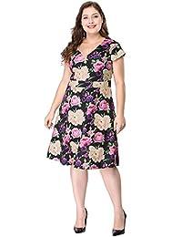 Agnes Orinda Women's Plus Size Above Knee Cap Sleeve V Neck Floral Dress