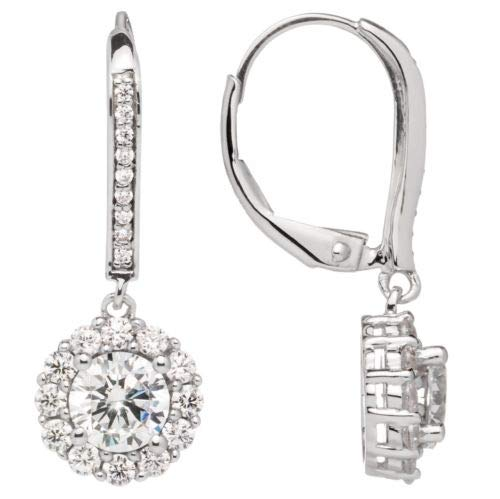 (14K Solid White Gold Leverback Earrings | Round