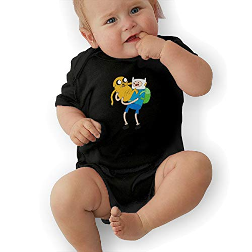 Mabb Baby's Adventure Time with Finn and Jake Romper Bodysuit Outfits Black -