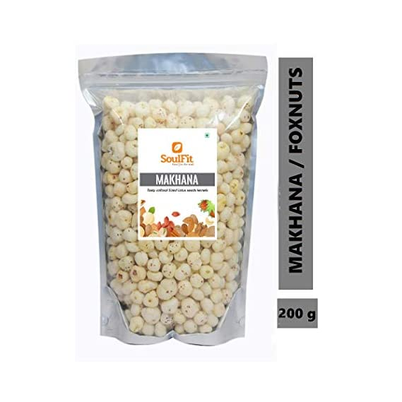 Soulfit Foxnuts | Raw Phool Makhana Seed Healthy Tasty Puffed Kernel | Lotus Seeds (200g)