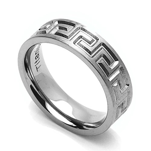 Double Accent 6MM Comfort Fit Titanium Wedding Band Greek Key Flat Ring (Size 6 to 14) Size 9
