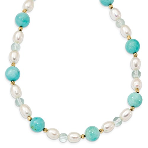 ICE CARATS 14k Yellow Gold Peru Amazonite Fluorite 8mm White Freshwater Cultured Pearl Chain Necklace Fine Jewelry Gift Valentine Day Set For Women - Mother's Cheap Gifts Free Day Shipping