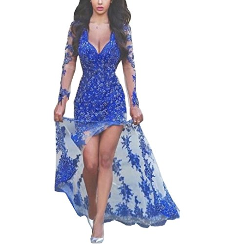 Chady Royal Blue V-neck long Sleeves Prom Dresses 2017 long Sexy Side Split Lace Appliques Long Evening Summer Party gowns by Chady