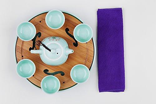 Longquan Ceramic Tea Pot Set for Six Porcelain Cha Pan Celadon Glaze Chinese Teaware (celadon, light green, flower)