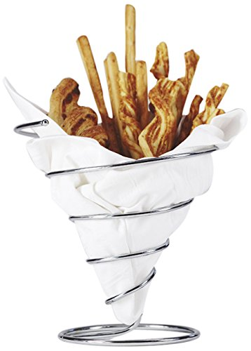 7'' Diameter Stainless Steel Wire Metal Spiral Cone French Fry Holder Or Appetizer Basket by GET Clipper Mill 4-88807
