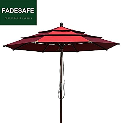 EliteShade 9Ft Market Umbrella Patio Backyard Outdoor Table Umbrella 3 Layers Ventilation,Bonus Weatherproof Cover (Burgundy) - FADESAFE FABRIC: Three layers ventilated breathe freely.Water repellent, 98% UV protection and Solution dyed Fading resistant fabric. Our Fadesafe fabric make your patio umbrella last longer and stay strong for years to come FULL ALUMINUM UMBRELLA FRAME:20% stronger than most of the umbrellas in the market. The 9ft Patio umbrella comes with 1.5 inches diameter aluminum pole provides stronger support than standard round poles. Rust Free Powder Coated with 8 Ribs. Wonderful choice for any outdoor activities CRANK OPEN SYSTEM,PUSH BUTTON TO TILT: Crank open system, easy to open and close by the crank handle. Press push button to tilt for more shade Easy to tie up our patio umbrella with strap, prevent falling in wind, rain etc - shades-parasols, patio-furniture, patio - 41z3d8WB2PL. SS400  -